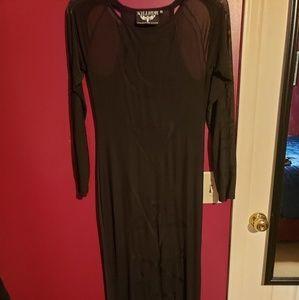 Killstar sheer mesh maxi dress in black size XXL